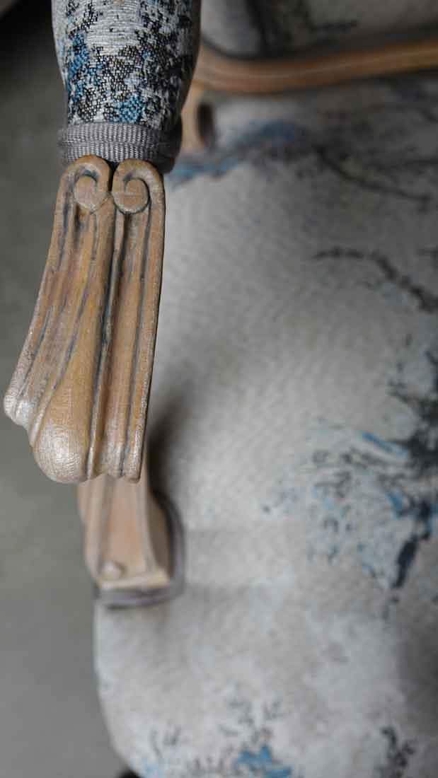 patine grise fauteuil louis xv