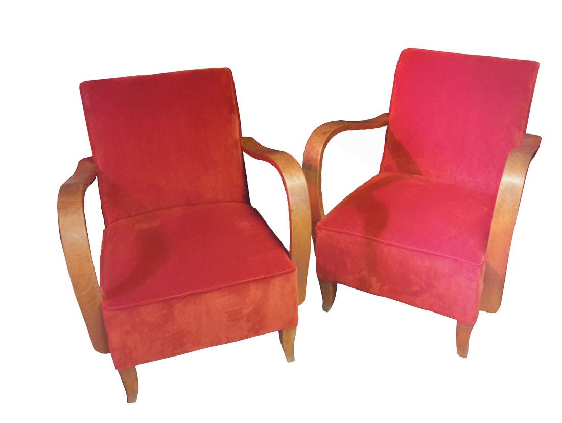 fauteuils studio velours orange