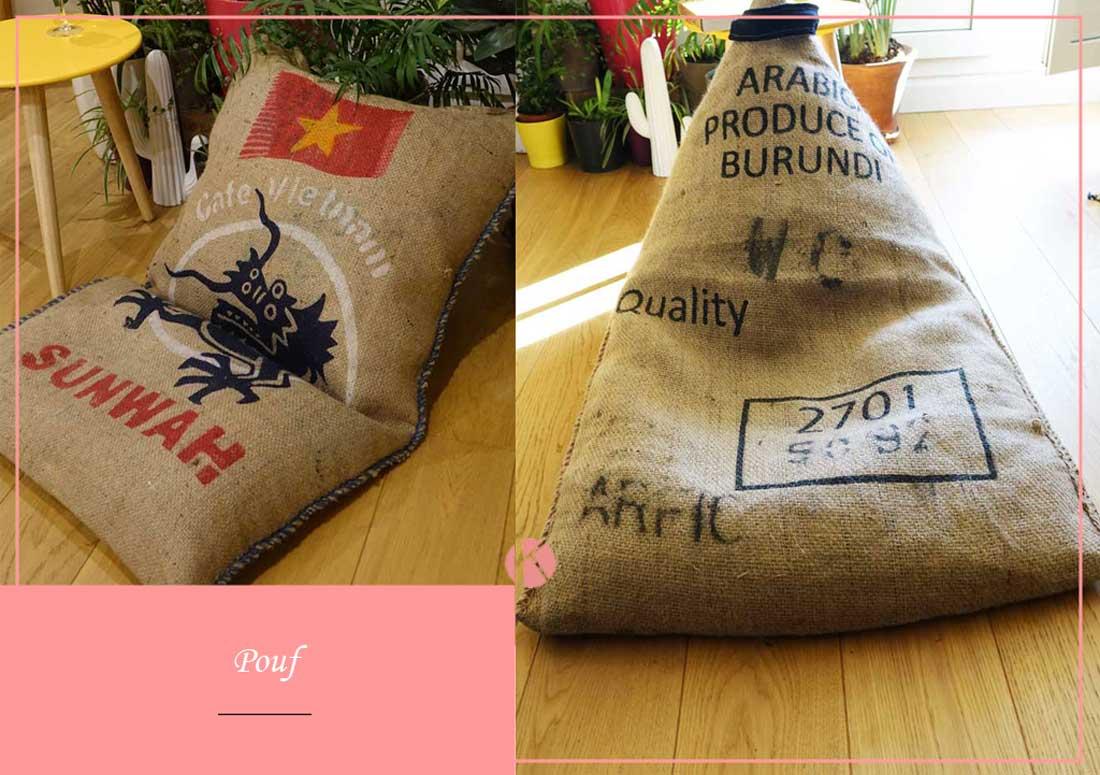 création pouf microbilles sac café