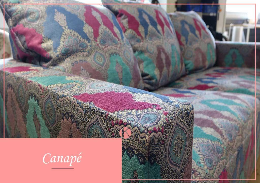 canapé tissu coloré